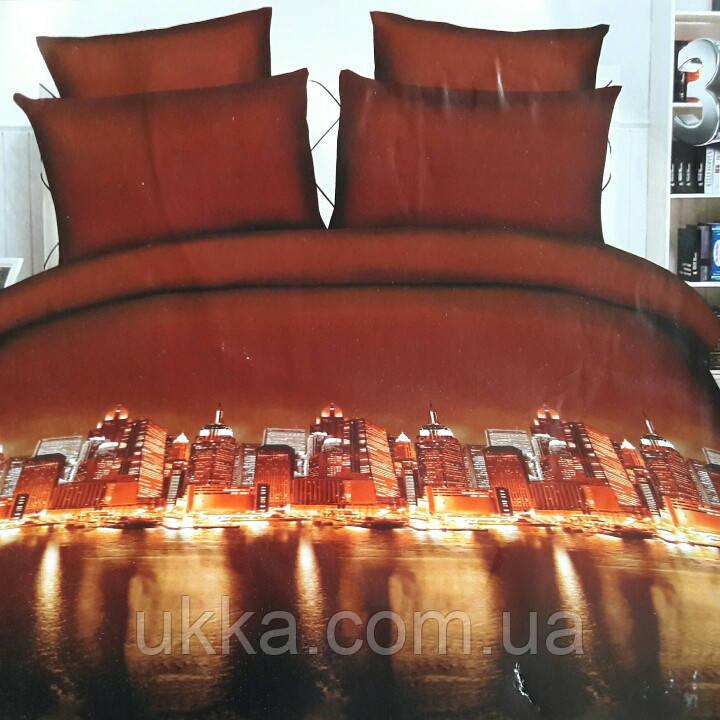 Двухспальное постельное белье 3D Микросатин Скайсайд
