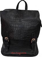 Женский рюкзак с перекидным клапаном черный