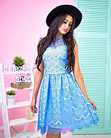 Платье модное из кружева с пышной юбкой мини разные цвета 6SMb1660