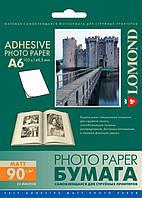 Односторонняя матовая самоклеящаяся фотобумага неделенная, А6, 90 г/м2, 25 листов