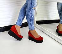Женские замшевые туфли на высокой платформе красного цвета, 36-40р.