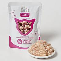 Консервы Brit Care Chicken & Duck Pouch для взрослых кошек с курицей и уткой, 80 г