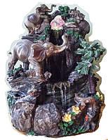 Фонтан настольный декоративный Семья слонов в тени пальм с подсветкой и шар 35=28=27 08а