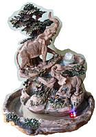 Фонтан настольный декоративный Два слона в тени дерервьев с подсветкой и шар 1 метр 25 см