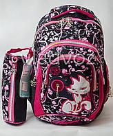 Школьный рюкзак для девочки с пеналом кот черный с розовым