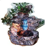 Фонтан настольный подвесной декоративный Пейзаж деревья бирюзовый поток БЕЗ подсветкИ МЕЛЬНИЦА 35=35=16