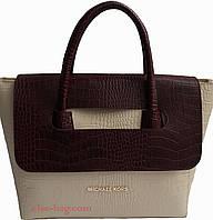 Женская сумка из эко кожи с перекидным клапаном крем с бордо