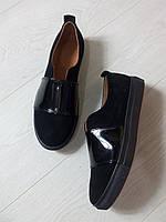 Слипоны fashion Saleks .Натуральный замш внутри итальянская натуральная кожаная подкладка, на Черной подошве