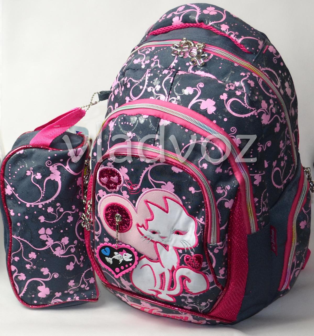 1c709db66a81 Школьный рюкзак для девочки с пеналом кот серый с розовым - интернет  магазин vladvoz.in