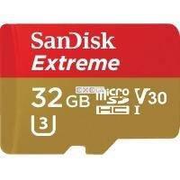 """Карта пам""""ятi SanDisk 32GB microSDHC V30 A1 UHS-I U3 R100/ W60MB/ s 4K Extreme (SDSQXAF-032G-GN6AA)"""