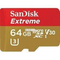 """Карта пам""""ятi SanDisk 64GB microSDXC V30 A1 UHS-I U3 R100/ W60MB/ s 4K Extreme (SDSQXAF-064G-GN6MA)"""