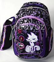 Школьный рюкзак для девочки с пеналом кот черный с фиолетовым