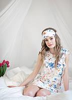 Сорочка нічна  жіноча, домашнє плаття в яскраві квіти із надписом Blooming dreams, для сну, 95% хлопок ELLEN