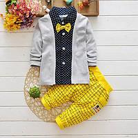 Детский нарядный костюм штаны и рубашка с бабочкой для мальчика 104
