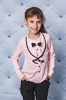 Модная детская трикотажная кофточка, пудра, фото 1