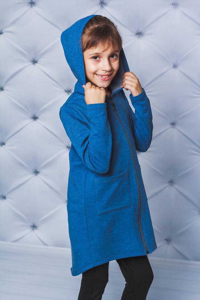 Детский кардиган, кофта с капюшоном, синий