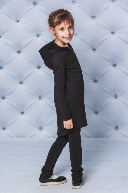 Детский кардиган, кофта с капюшоном, черный