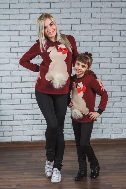 """Теплая кофта, толстовка  для мамы и дочки """"Зайка"""" бордо"""