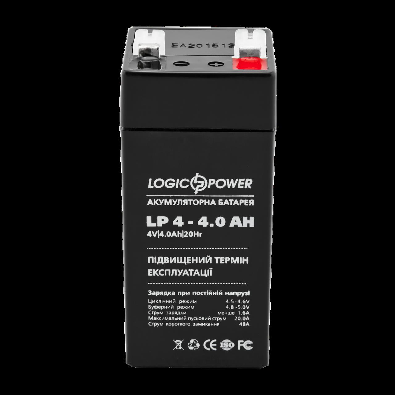 """Кислотно-свинцовый аккумулятор  LogicPower AGM LP 4v-4a AH - """"Батарейкин"""" В Мире цифровой электроники! в Херсонской области"""