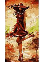 Картина по номерам Дама в красном КНО2639
