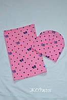Комплект шапка и хомут для девочки весна осень розовый