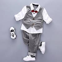 Детский комплект белая рубашка с бабочкой и штаны для мальчика