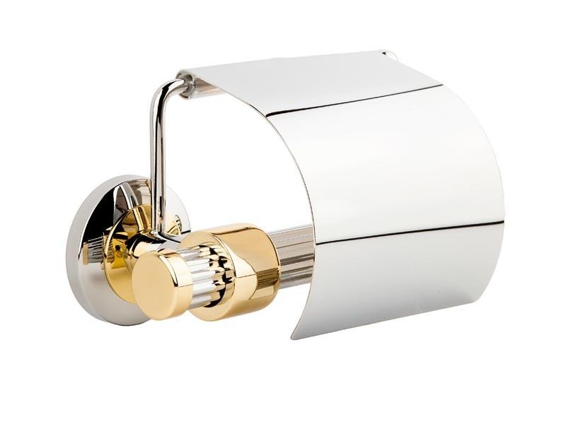 Держатель для туалетной бумаги с крышкой Kugu Maximus 611C&G, хром-золото