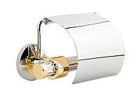 Держатель для туалетной бумаги с крышкой Kugu Maximus, хром-золото