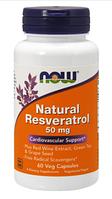 Ресвератрол Натуральный, Now Foods, Natural Resveratrol, 50 mg, 60 vcaps