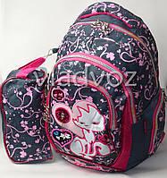 Школьный рюкзак для девочки с пеналом кот серый с розовым