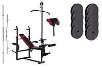 Набор Premium 74 кг со скамьей  с тягой и партой HS