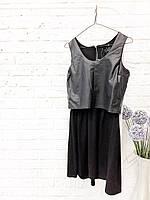 Черное платье с кожаной вставкой MOHITO Размер M