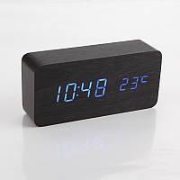 Цифровые светодиодные деревянные часы Wooden clock прямоугольные (синий и зелёный циферблат)