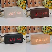 Цифровые светодиодные деревянные часы Wooden clock прямоугольные (красный циферблат)