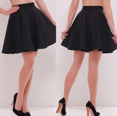 01ef7c64566 Черная короткая юбка солнце - СТИЛЬНАЯ ДЕВУШКА интернет магазин модной  женской одежды в Киеве