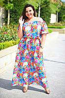 """Длинное летнее платье-сарафан """"Nimfa"""" с цветочным принтом (большие размеры)"""