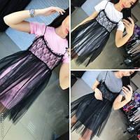 Модное женское платье с гипюром Украина / коттон+сетка