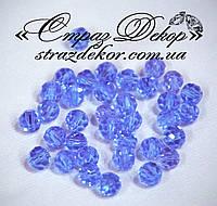 Кришталеві намистини круглі 6мм Lt. Saphire (блакитні), фото 1