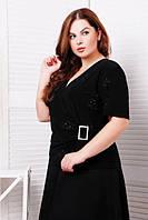 Женская удлиненная блуза черного цвета под пояс