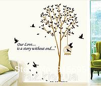 """Наклейка на стену, украшения стены наклейки  """"дерево с птицами, Love Story Homе"""" 1м60*1м65см (лист60*90см)"""
