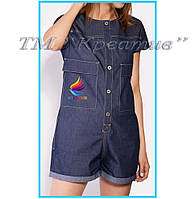 Джинсовые комбинезоны шорты с вашим логотипом (под заказ от 50 шт)