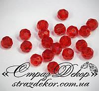 Хрустальные бусины круглые 6мм Siam (красные)