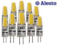 10 шт. Светодиодная LED лампа G4 3W 12V COB, Лед лампа G4 3Вт ALESTO G4 3W 3Вт 12 Вольт COB 3000K 6000K