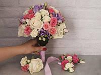Букет невесты из роз и эустомы