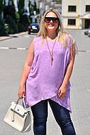 """Асимметричная женская блуза-туника """"Marisa"""" с коротким рукавом (большие размеры)"""
