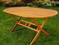 Стіл садовий дерев'яний, з отвором під зонт, фото 1