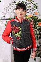 Куртка для девочки демисезонная короткая с капюшоном красная с цветами