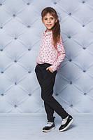 """Детская красивая блузка для девочки """"Сердечки"""" с длинным рукавом, розовая, фото 1"""