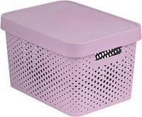 Розовая перфорированная коробка с крышкой на 17 л INFINITY Curver 229152
