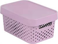 Розовая перфорированная коробка с крышкой на 4.5 л INFINITY Curver 229156